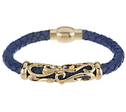 Stainless Steel Filigree Station Woven Leather Magnet Clasp Bracelet - J289750