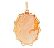 Vicenza Gold Oval Cameo Pendant with Scalloped Border, 14K - J293150