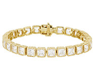 Judith Ripka Sterl & 14KClad 7-1/4 Princess Cut Diamonique Tennis Bracelet - J295450