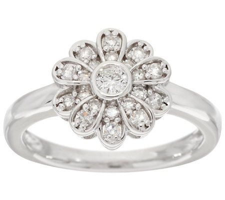 flower petal diamond ring sterling 1 3 cttw by affinity