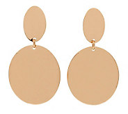 Bronze Polished Double Oval Dangle Earrings byBronzo Italia - J311750