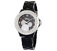 Disney Womens Mickey Black Enamel Watch - J315550