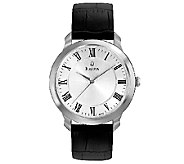 Bulova Mens Stainless Steel Black Leather Strap Watch - J316450