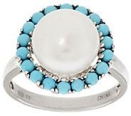 Honora Cultured Pearl 10.0mm & Gemstone Bead Sterling Ring - J318750