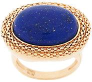 14K Gold Bold Woven Border Lapis Ring - J321650