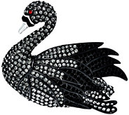 Joan Rivers Majestic Crystal Black Swan Pin - J322650