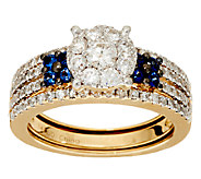 Cluster Design Diamond & Sapphire Ring Set, 14K, 1 cttw, Affinity - J324550