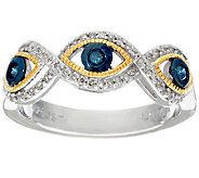 Blue Evil Eye Diamond Band Ring, Sterling, 1/4 cttw, by Affinity - J325850