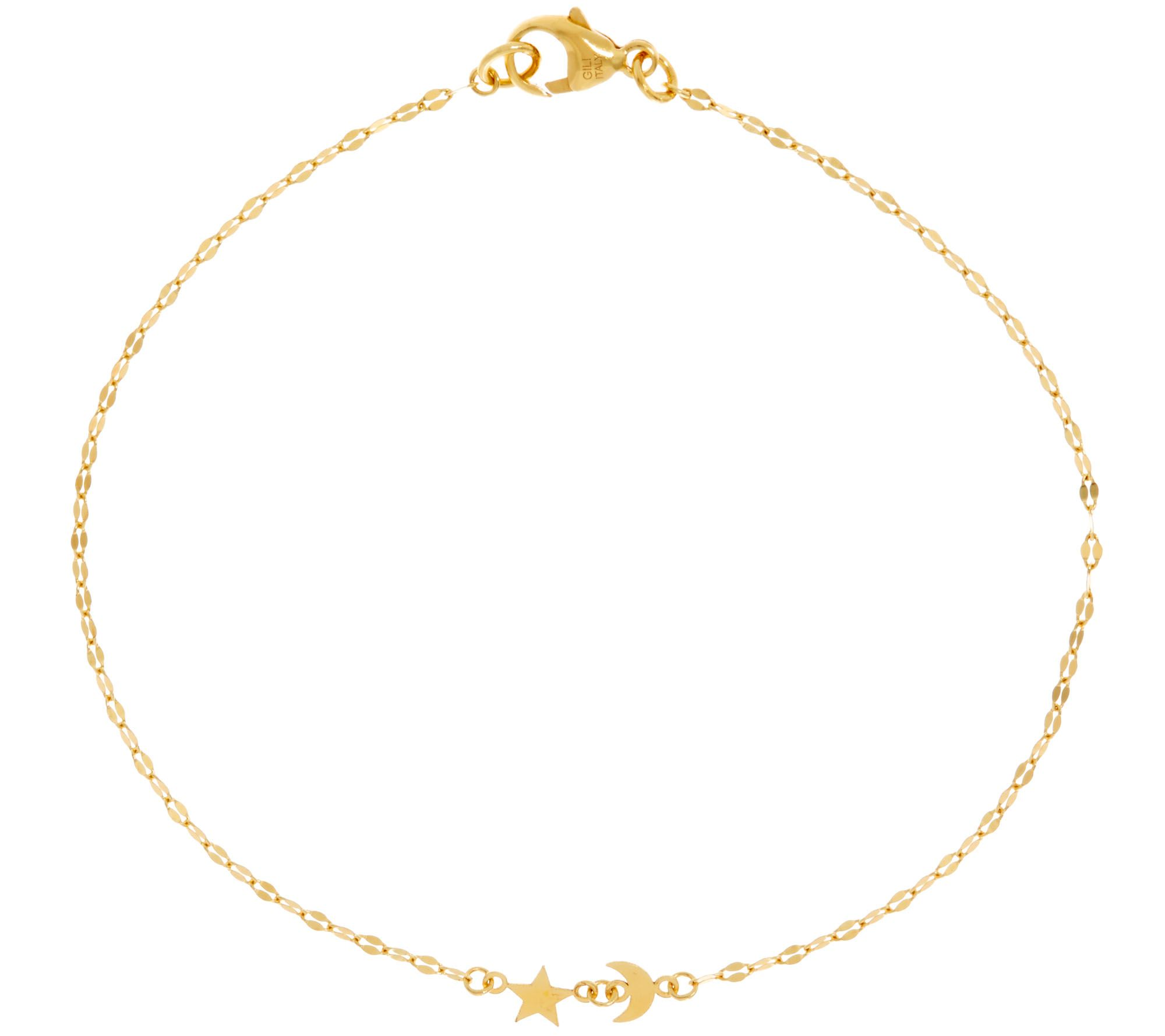 jewelry stylish anklet inches free yellow today shipping fremada solid flower gold product watches overstock station