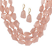 Linea by Louis DellOlio Frosted Bead Necklace & Earring Set - J329550