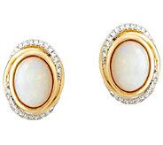 Australian Opal and Diamond Stud Earrings 14K Gold 1.30 cttw - J329950