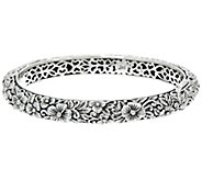 JAI Sterling India Collection Carved Flower Bangle Bracelet - J331250
