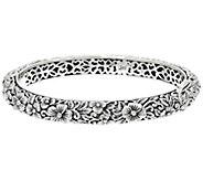 JAI Sterling India Collection Carved Flower Bangle Bracelet - J331250