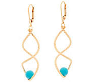 As Is Veronese 18K Clad Turquoise Bead Twist Dangle Earrings - J332450