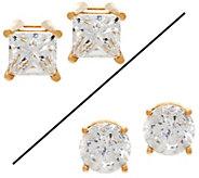 As Is Round or Princess Diamond Stud Earrings 14K 1.00cttw - J333050