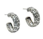 JAI Sterling Leopard Texture Hoop Earrings - J346650