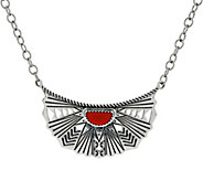 American West Red Coral Sterling Sun Ray Necklace - J348450