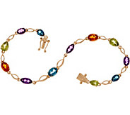 Multi-Cut Gemstone 8 Tennis Bracelet 14K Gold - J349750