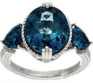 Judith Ripka Sterling Silver 6.70 cttw London Blue Topaz Ring - J349950