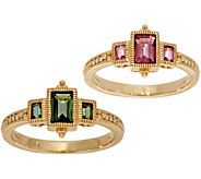 Judith Ripka 14K Gold Three Stone Pink or Green Tourmaline Ring - J351750