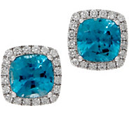 Cushion Blue Zircon and Diamond Stud Earrings, 14K, 4.00 cttw - J353750