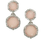 Judith Ripka Sterling Pink Opal/Rose Quartz & DMQ Earrings - J377150