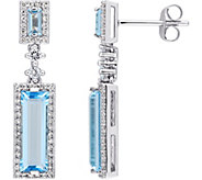 4.20 cttw Blue Topaz & 3/10 cttw Diamond Drop Earrings, 14K - J377750