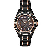 Bulova Womens Black Ceramic Marine Star Diamond Watch - J378550