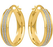 Italian Gold Glitter Hoop Earrings 14K - J379150