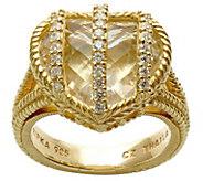 Judith Ripka 14K Clad Rock Crystal Quartz Diamonique Ring - J380550