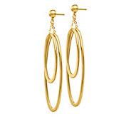 Italian Gold Double Oval Dangle Earrings, 14K - J381850