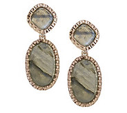 VicenzaGold Labradorite Drop Earrings 14K Gold - J267551