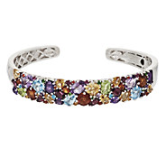 As Is Master Cut 12.00 ct tw Multi-Gemstone Sterling Hinged Cuff - J268951