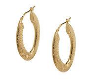 Italian Silver Diamond Finish Oval Hoop Earrings, Sterling - J274751