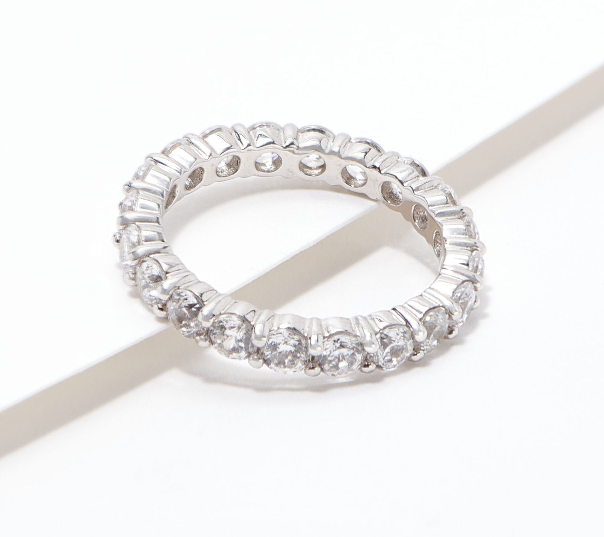 Diamonique 100 Facet Eternity Band Ring 14K Clad or Sterling