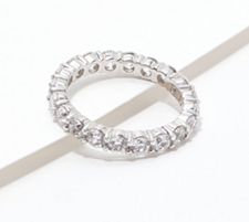 Diamonique 100-Facet Eternity Band Ring, 14K Clad or Sterlin