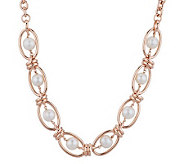 Honora Cultured Pearl 10.0mm Ringed 18 Oval Link Bronze Necklace - J285151