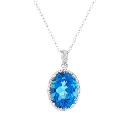 9.95 ct tw Ostro Royal Blue Topaz & 1/4 ct tw Diamond ...