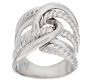 VicenzaSilver Sterling Interlocking Cable Textured Ring - J290051