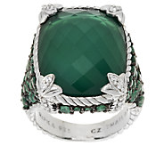 Judith Ripka Sterling Monaco Green Goddess Ring w/ Emeralds - J293551