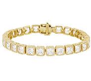 Judith Ripka 8 Sterl & 14KClad Princess Cut Diamonique Tennis Bracelet - J295451