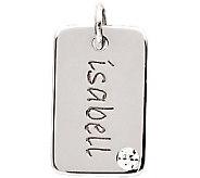 Posh Mommy Sterling Mini Dog Tag Simulated Birthstone Pendant - J300051