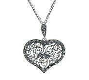 Suspicion Sterling Marcasite Milgrain Heart Pendant with Chai - J304351