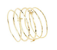 Set of 5 Flower Design Hammered Bangles by Garold Miller - J304651