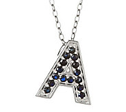 Sapphire Initial Pendant with 18 Chain, Sterling - J305351
