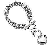 Stainless Steel 7-1/2 Polished Heart Toggle Bracelet - J306551