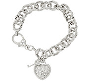 Judith Ripka Verona 6 3/4 Heart & Key Charm Bracelet 32.8g Sterling - J320051