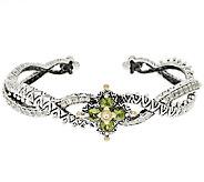 Barbara Bixby Sterling & 18K Peridot & White Topaz Flower Cuff Bracelet - J320151
