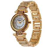 Liz Claiborne New York Mother Of Pearl Watch w/ Crystals - J320251