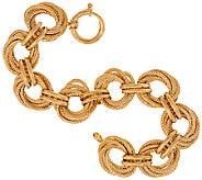 14K Gold 7-1/4 Textured & Polished Wrapped Oval Bracelet, 12.2g - J321551